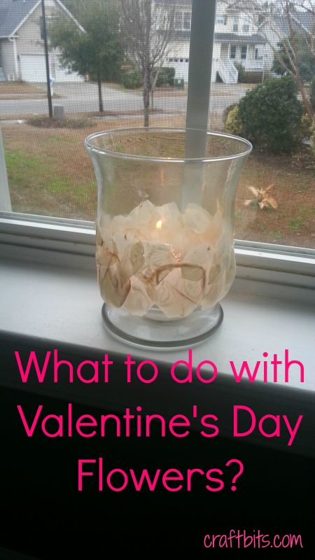 Candle Luminary With Valentine's Day Flowers