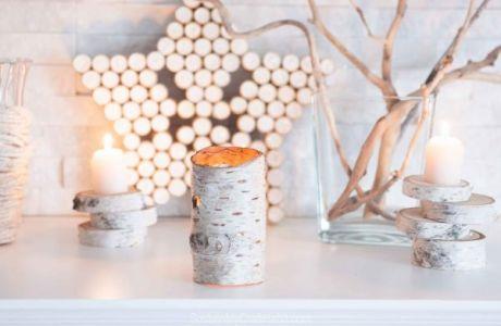 DIY Birch Bark Candle Holder