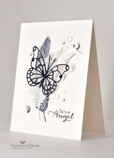 ©Candles in the Garden. RIC62 - Vellum and stamped feathers with a die-cut butterfly from Memory Box.