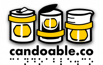 hand drawn logos of a drink can food can and beaker wearing yellow cando labels with the words candoable.co in print and braille translation below