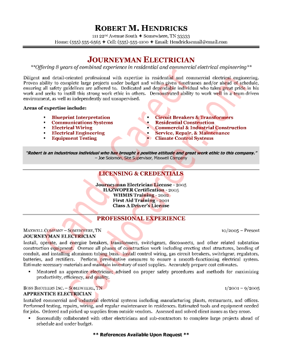 Journeyman Electrician Cover Letter Sample Gtgt Cando Career Coaching