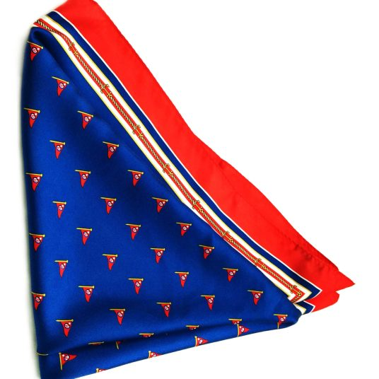 This silk square scarf for the Ocean Reef Yacht Club shows its sheen.