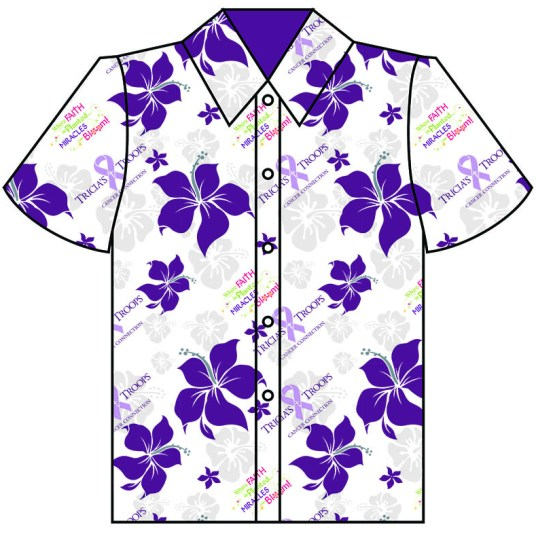 Tricia's Troops shirt design, purple with flowers