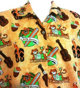 Princeton 1997 reunion tigeritaville aloha shirt, orange with green and white details