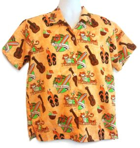 Princeton 97 reunion shirt, orange aloha shirt with surfboards, tigers, guitars, and flowers