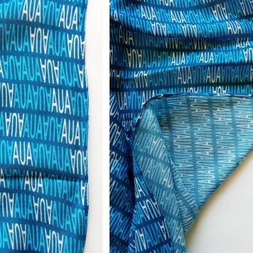 blue and white text design on a modal custom scarf