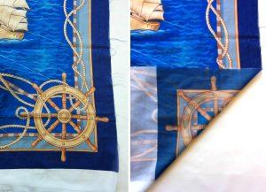 a blue nautical design on a polyester chiffon custom scarf
