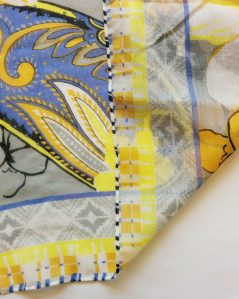 blue and yellow design on a polyester voile custom scarf