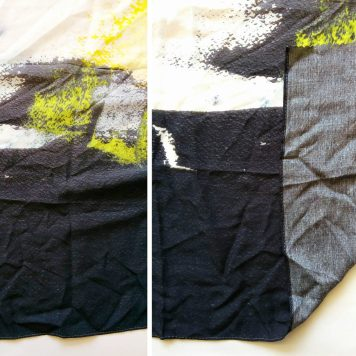 black white and yellow printing on a custom rayon scarf
