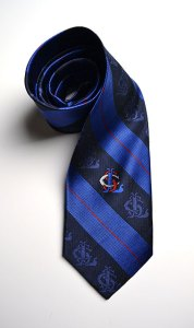 Saint Louis School, tie, blue, black, red, woven, label, silk tie