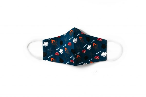 front view of navy BBQ themed cotton face mask