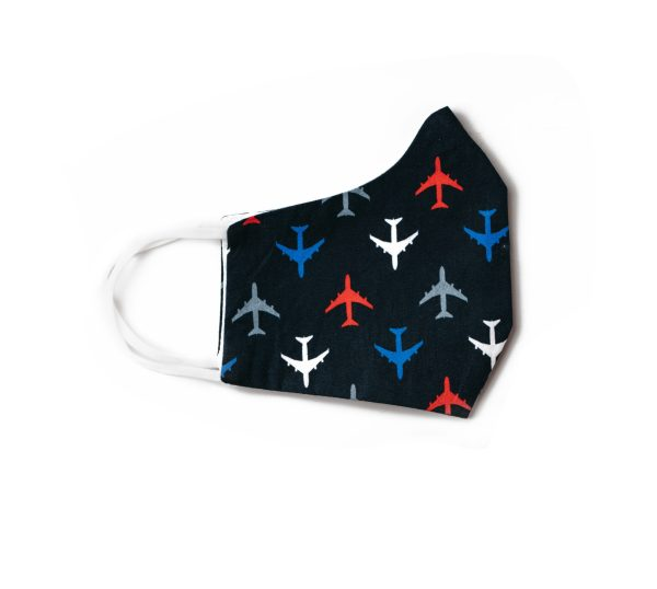 side view of navy airplanes cotton face mask