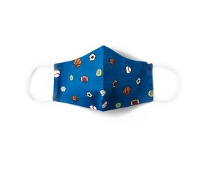 front view of blue cotton face mask with sports themed pattern