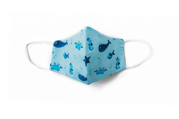 front view of light blue cotton face mask with blue under the sea pattern