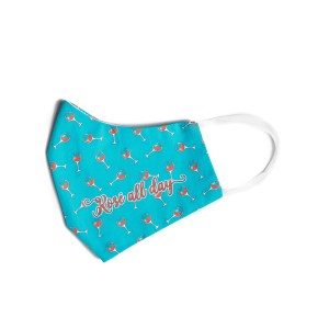 """side view of blue cotton face mask with wine glass pattern and """"Rosé all day"""" text"""
