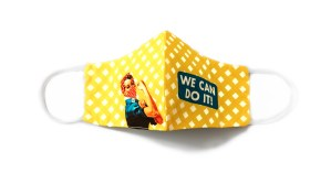 """front view of yellow checkered face mask with Rosie the Riveter and """"We can do it!"""" text"""