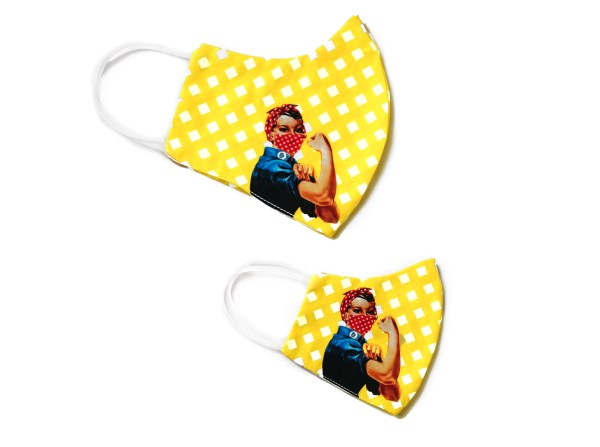 side view of adult and kids yellow checkered Rosie the Riveter face masks