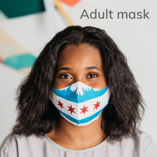 model wearing an adult size face mask with chicago flag and skyline