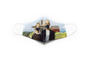 front view of cotton face mask depicitng American Gothic figures wearing masks