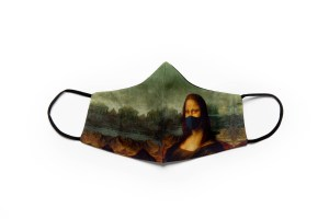 front view of cotton face mask depicting mona lisa wearing a mask