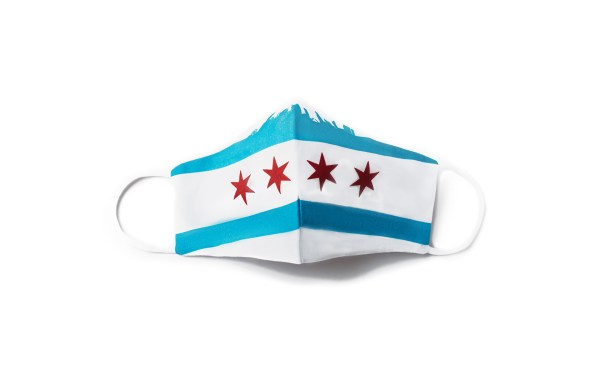 front view of white cotton face mask with large Chicago flag and skyline design