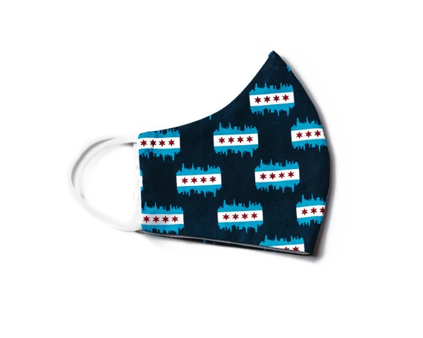 side view of navy blue cotton face mask with Chicago flag and skyline pattern