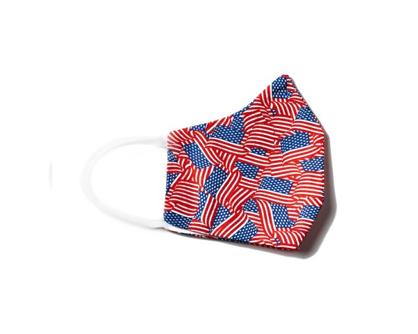 side view of cotton face mask with American flag pattern