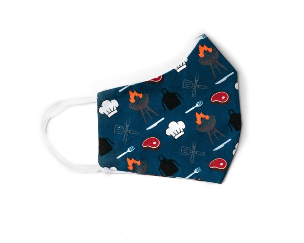 side view of navy blue cotton face mask with BBQ themed pattern