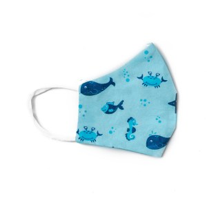 side view of light blue cotton face mask with blue under the sea themed pattern