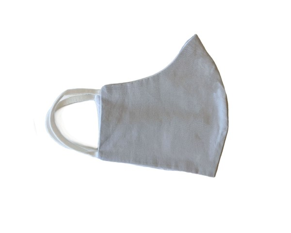 side view of light gray cotton face mask