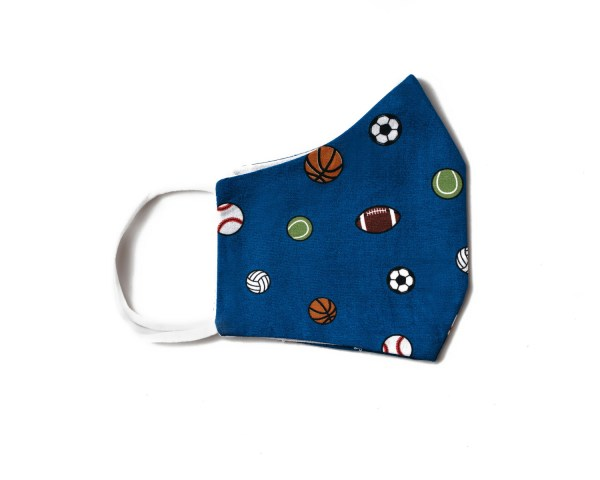 side view of blue cotton face mask with sports themed ball pattern