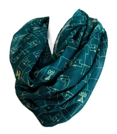 custom poly voile infinity scarf with circuitry pattern