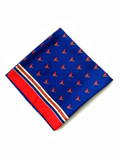 folded custom square silk scarf with yacht pattern