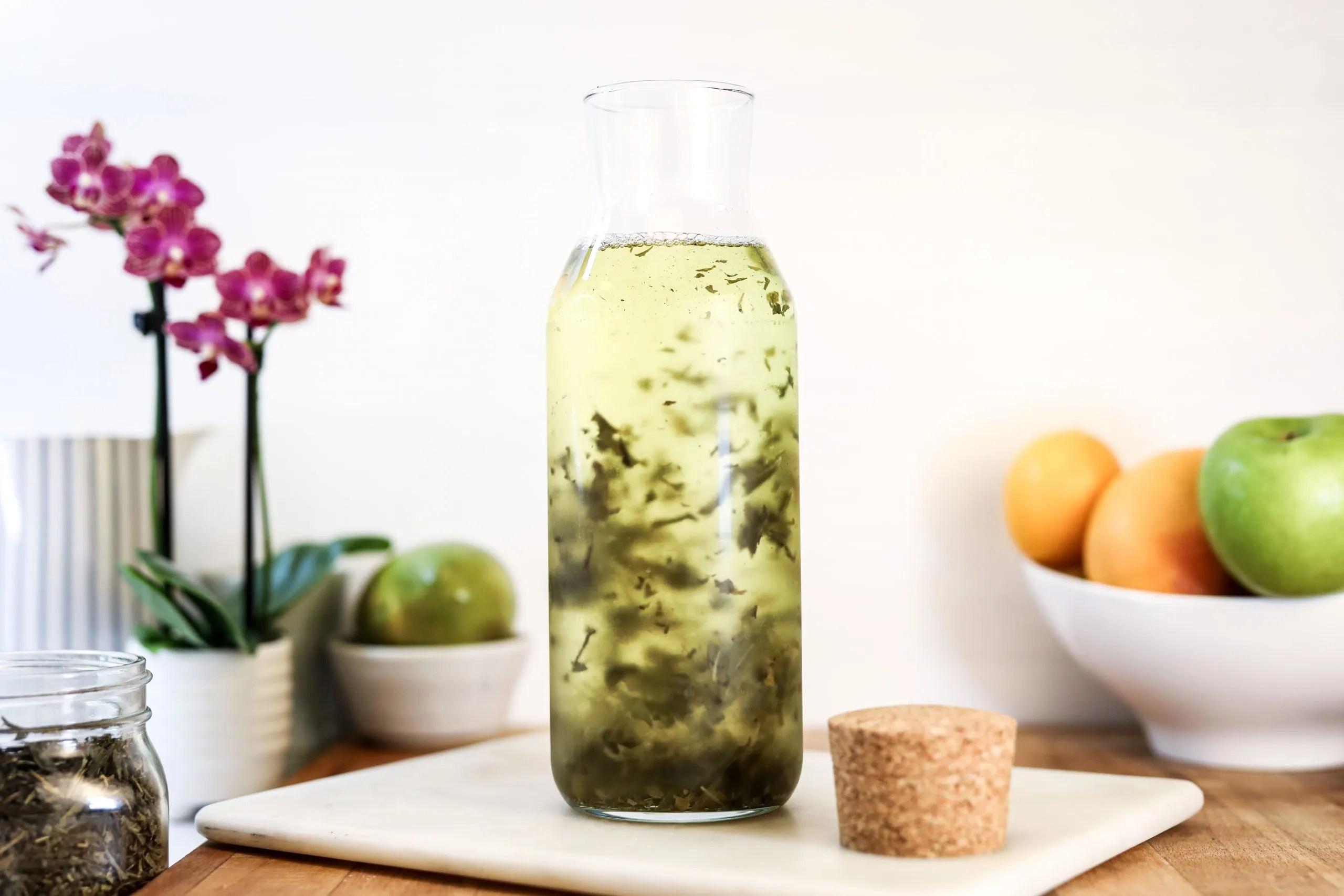 Tea leaves infusing