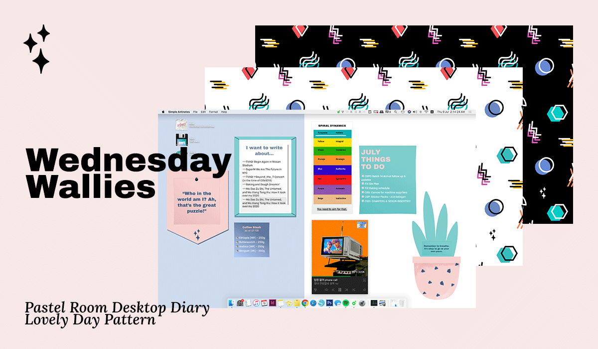 Wednesday Wallies: Pastel Room Desktop Diary+Lovely Day Pattern