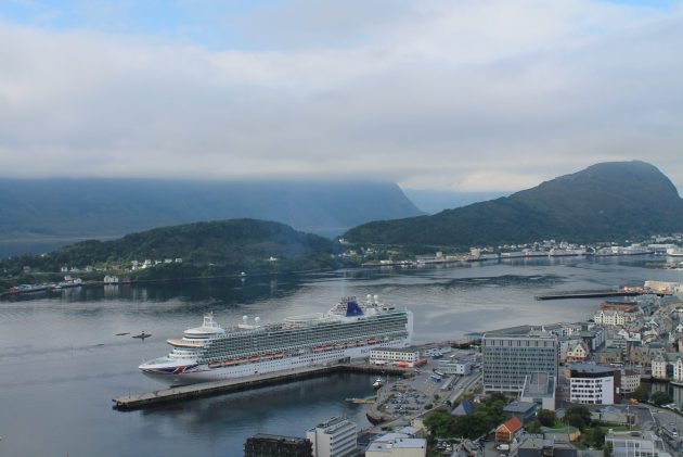 view of azura from viewpoint in alesund