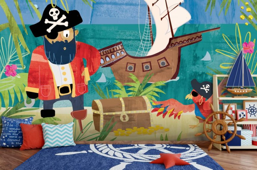 'Pirates' wall mural by Clare Wilson at Wallsauce.com