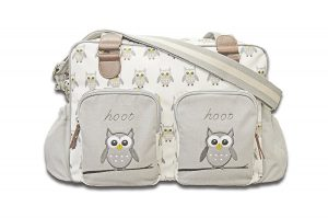 Hoot Hoot Owl Changing Bag, Grey and White, New Baby Wishlist