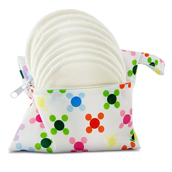reusable nursing pads, serenity bamboo white nursing pads in dotty bag, new baby wishlist