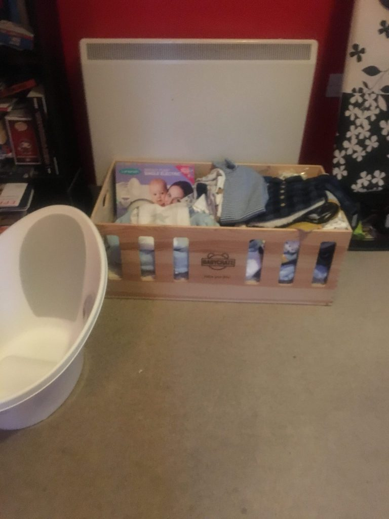 Baby Crate full of Newborn Baby Products, Pregnancy Update, Pregnancy Wishlist