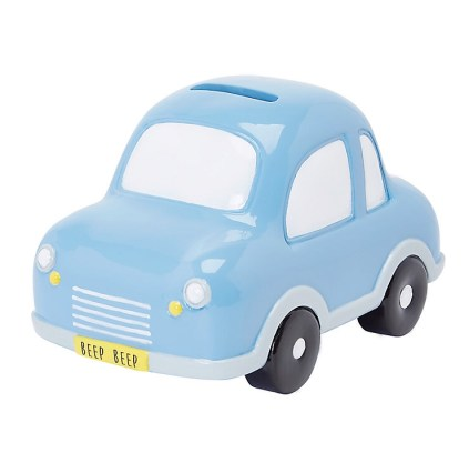 blue car baby moneybox, newborn gifts that make me cringe
