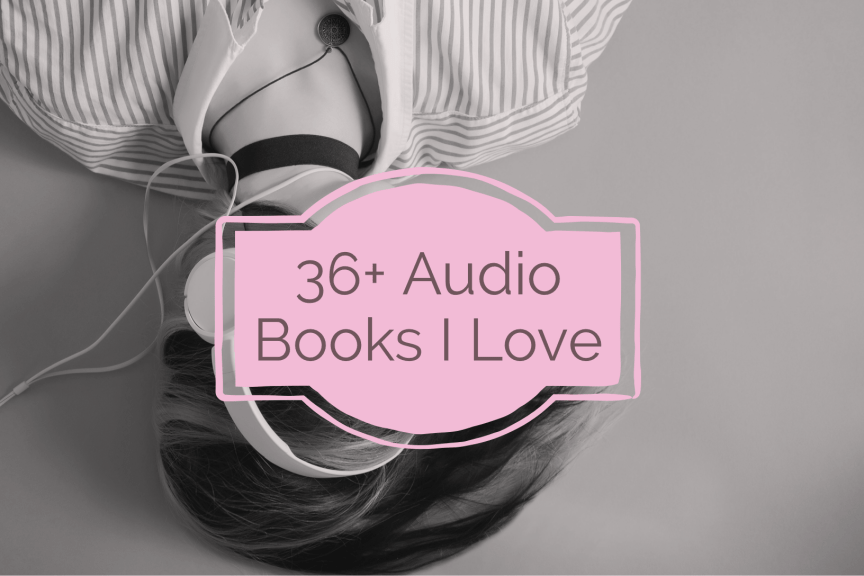 """Image Description: Black and white image of A woman is laying down with headphones on. The title of the blog post """"36 audiobooks I love"""" is in the centre of the image."""