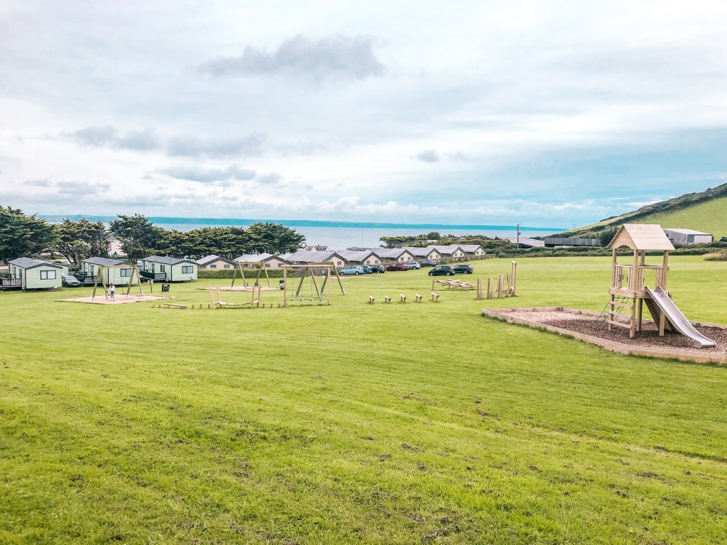 The vista of Croyde Bay from the top children's playground at Ruda Holiday Park
