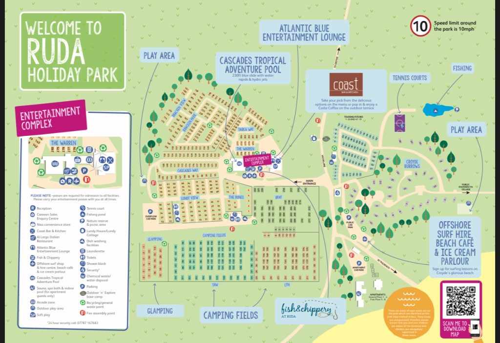 a map of ruda holiday park, parkdean resorts in north devon