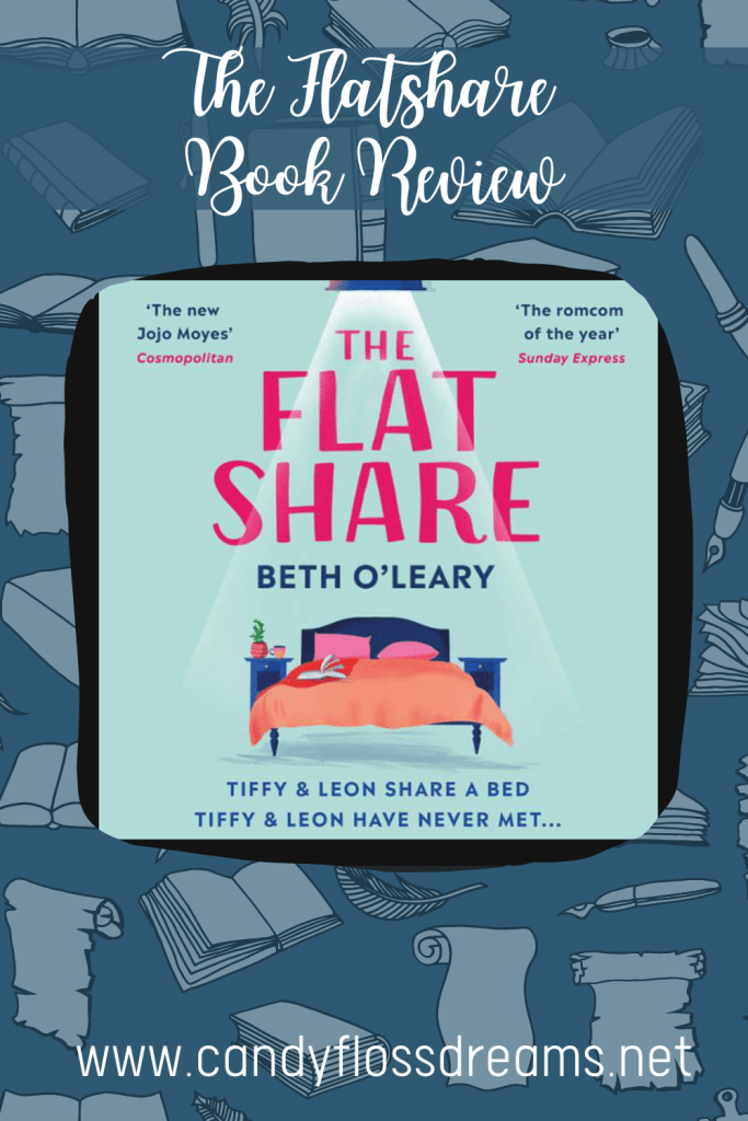 book review pin for the flatshare by beth o'leary, a contemporary romance. Pin image of blue background with books and scrolls, title on top and image of the audio cover for the flatshare.