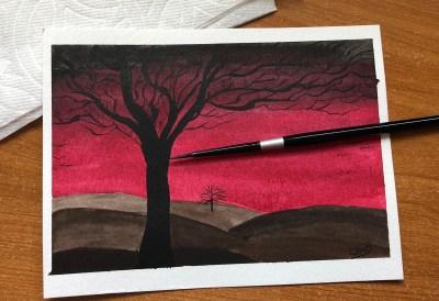 Red Sky watercolor