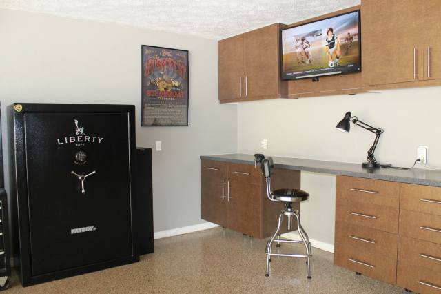 You've got the storage and work bench, but adding a TV or surround sound takes a garage to the next level.