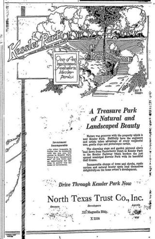 An old brochure for Kessler Park shows the beautiful stone stairways that can be found within the neighborhood.