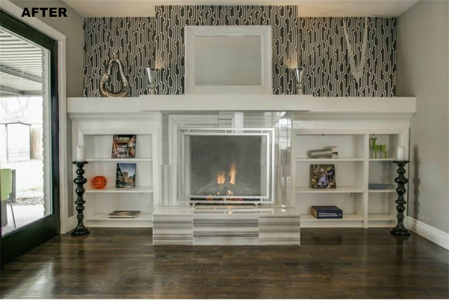 The fireplace at the East Dallas Canterview house.