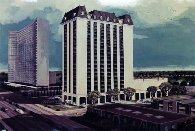 1973 Unbuilt Tower on Tract 3 with Royal Orleans and Diplomat in the foreground and a much flatter rendition of the already-built Preston Tower. Courtesy of Thomas E. Stanley Architects, Dallas